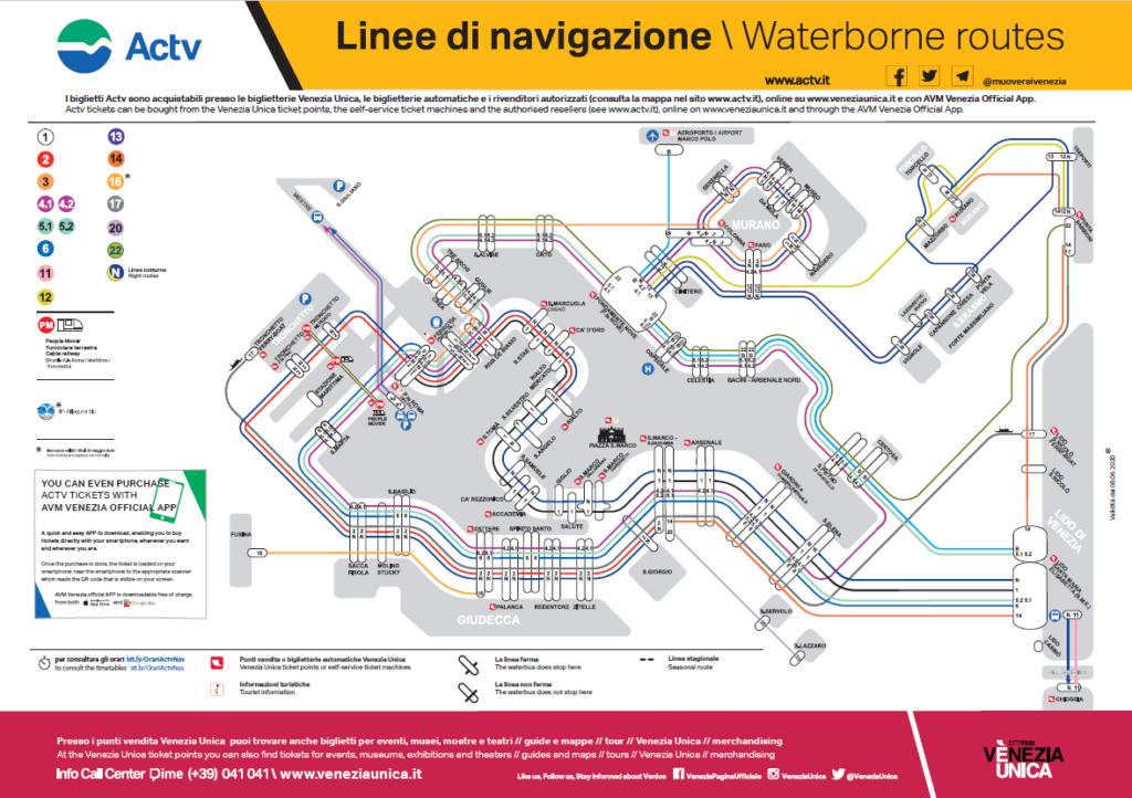 Venezia: mappa linee vaporetti